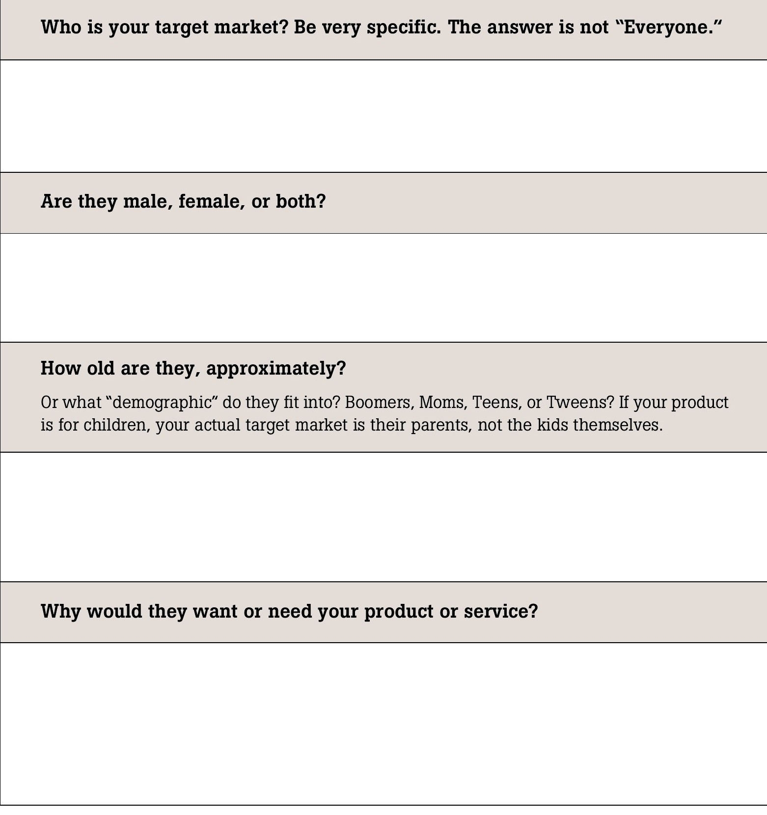 Worksheets No 2 & 3 Who Is Your Tar Market