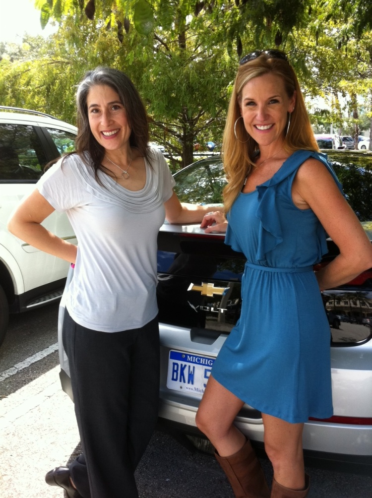 Aliza and Danielle with the Chevy Volt